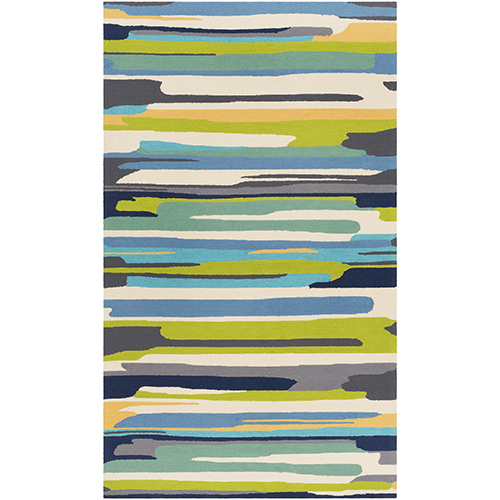 Rain Lime and Blue Indoor/Outdoor Rectangular: 9 Ft. x 12 Ft. Rug