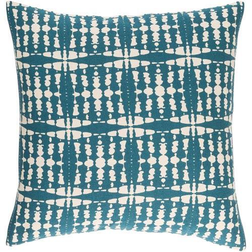 Surya Ridgewood Teal and Cream 22 x 22 In. Throw Pillow