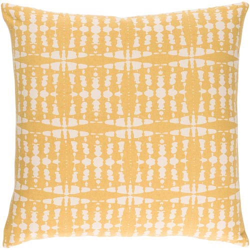 Surya Ridgewood Bright Yellow and Cream 18 x 18 In. Throw Pillow