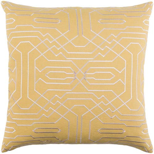 Ridgewood Mustard and Cream 18 x 18 In. Throw Pillow