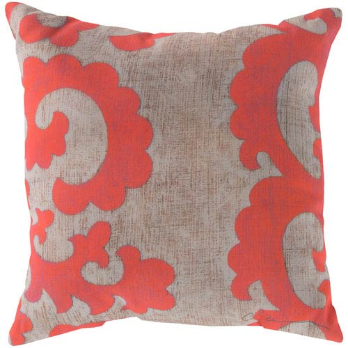 Statuesque Scroll Coral and Beige 20-Inch Pillow with Poly Fill