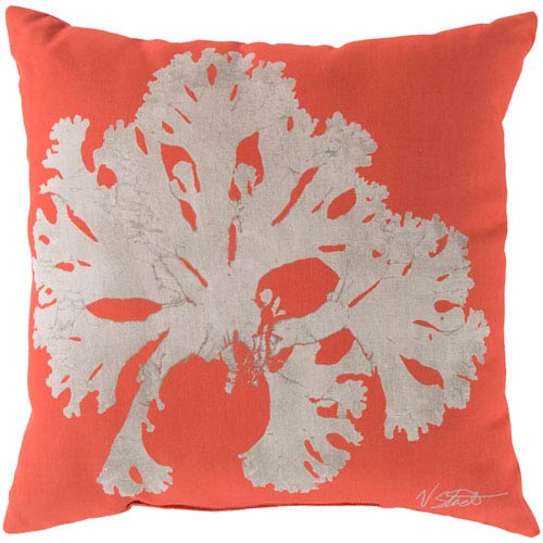 Cadence Coral and Beige 18-Inch Pillow with Poly Fill