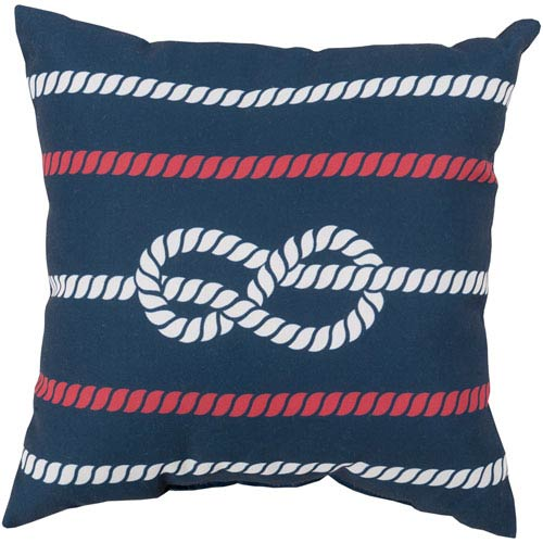 Knotted with Grace Cobalt and Poppy 18-Inch Pillow with Poly Fill