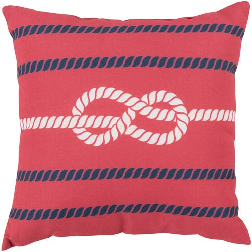 Knotted with Grace Poppy and Cobalt 26-Inch Pillow with Poly Fill