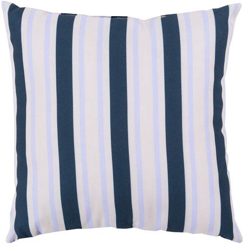 Nantucket Stripe Cobalt and Light Gray 18-Inch Pillow with Poly Fill