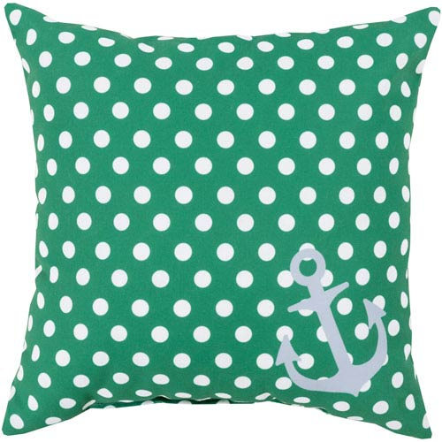 Anchored in Polka Dots Emerald and Ivory 20-Inch Pillow with Poly Fill