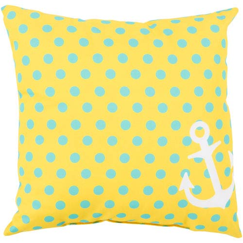 Anchored in Polka Dots Sunflower and Sky Blue 20-Inch Pillow with Poly Fill