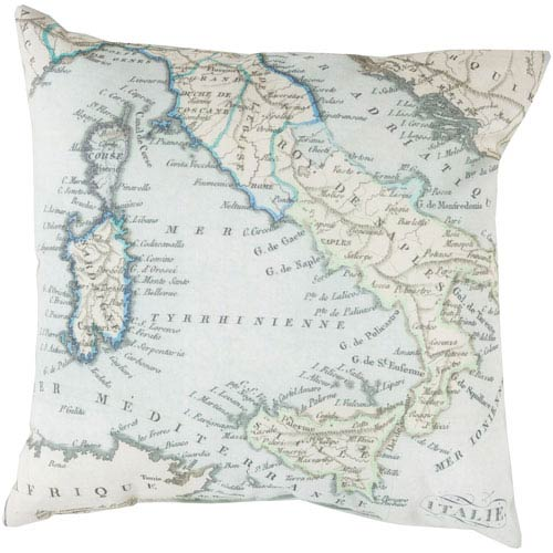 Mapped in Magnificence Multicolor 18-Inch Pillow with Poly Fill