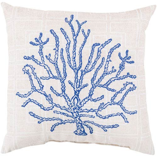 Coral of the Sea Cobalt and Beige 18-Inch Pillow with Poly Fill