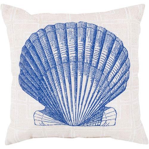 Shell of the Sea Cobalt and Beige 18-Inch Pillow with Poly Fill