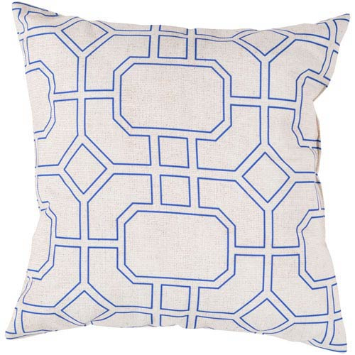 Trellis Marine Iris and Light Gray Outdoor 18-Inch Pillow with Poly Fill