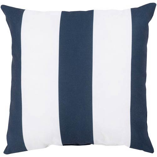 Awning Stripe Navy Outdoor 26-Inch Pillow with Poly Fill