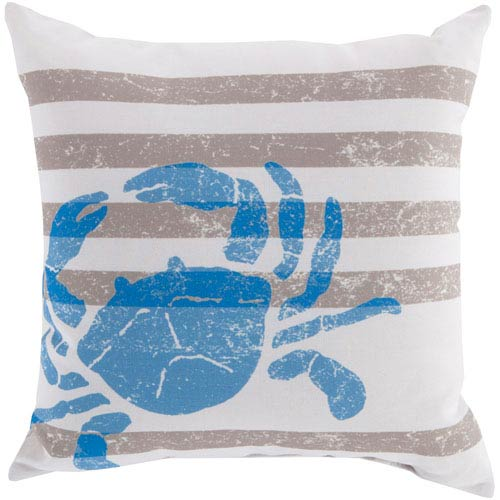 Stripes and Crab Light Gray and Blue 18-Inch Pillow with Poly Fill