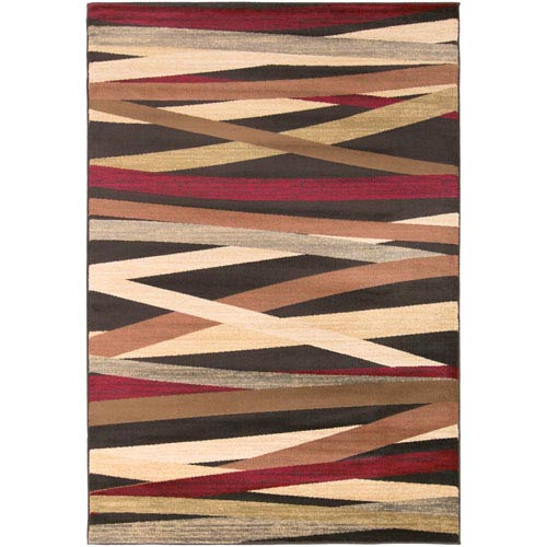 Riley Burgundy and Chocolate Rectangular: 2 Ft x 3 Ft 3 In Rug