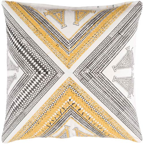 Rufiji Yellow and Brown 18-Inch Pillow with Poly Fill