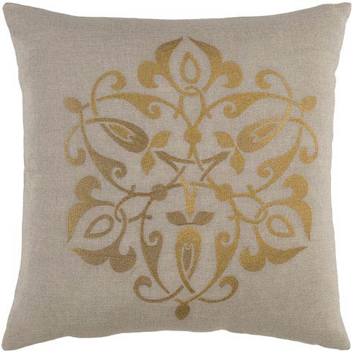 Ravati Gold and Light Gray 18-Inch Pillow with Poly Fill
