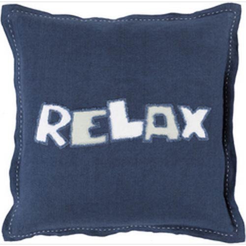 Just Relax Navy and Ivory 22-Inch Pillow with Down Fill