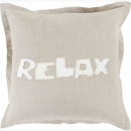 Just Relax Light Gray and Ivory 20-Inch Pillow with Down Fill