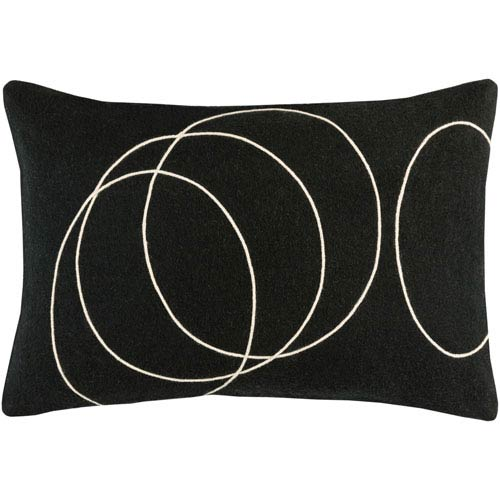 Solid Bold Black and Neutral 13-Inch x 19-Inch Pillow Cover