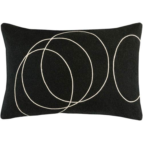 Solid Bold Black and Cream 13 x 19 In. Throw Pillow
