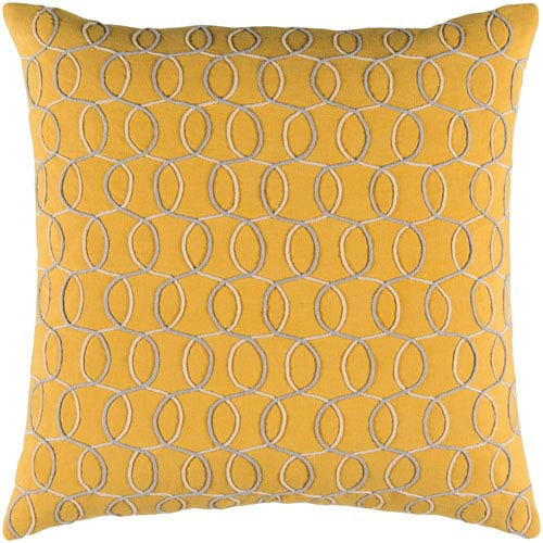 Surya Solid Bold II Yellow and Gray 22-Inch Pillow Cover