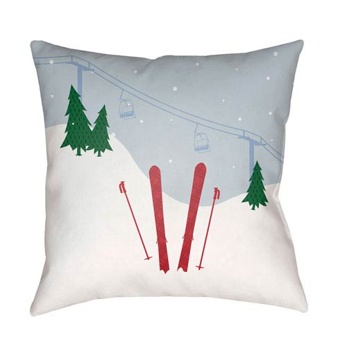 Surya Set Of Skis Multicolor 20 x 20-Inch Throw Pillow