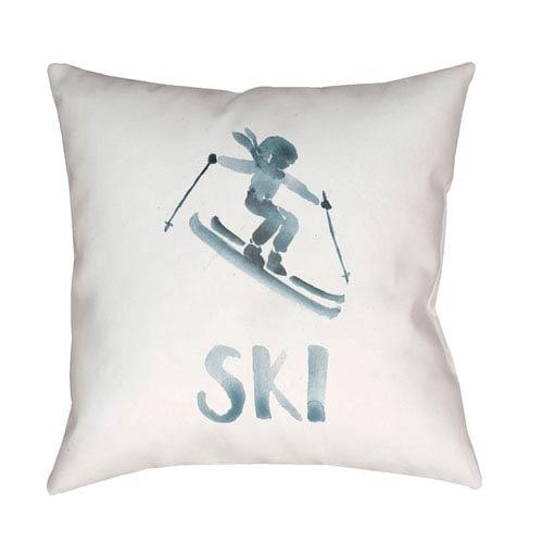 Surya Ski II Gray and White 20 x 20-Inch Throw Pillow