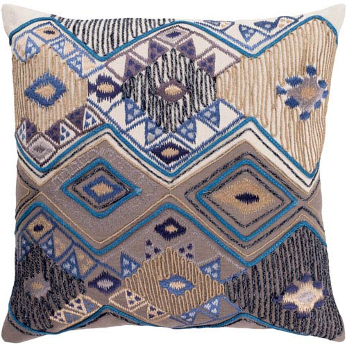 Surya Splendid Cream and Taupe 20 x 20 In. Throw Pillow Cover