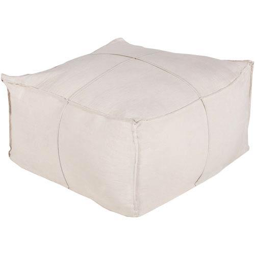 Khaki Solid Linen Cube Pouf