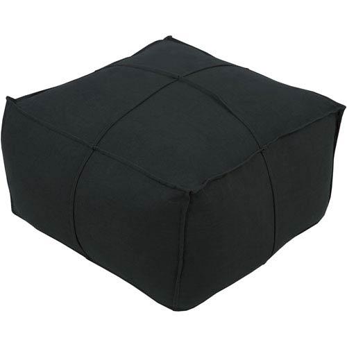 Surya Black Solid Linen Cube Pouf