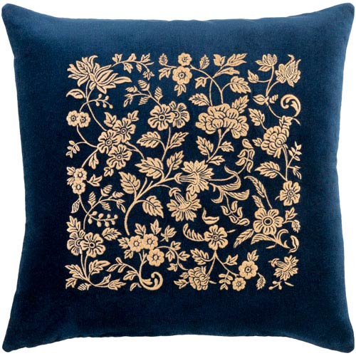 Surya Smithsonian Navy and Butter 18 x 18-Inch Pillow Cover