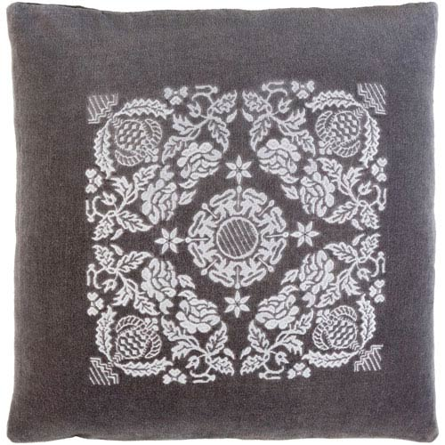 Smithsonian Charcoal and Light Gray 22 x 22-Inch Pillow Cover
