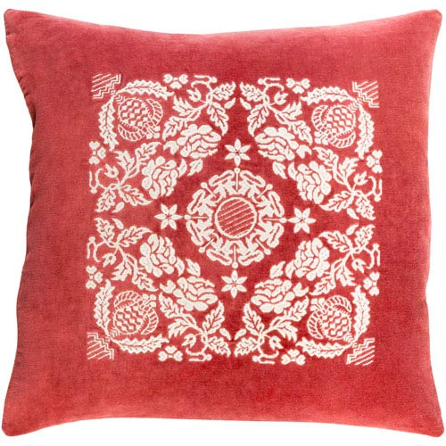 Surya Smithsonian Garnet and Cream 18 x 18-Inch Pillow Cover