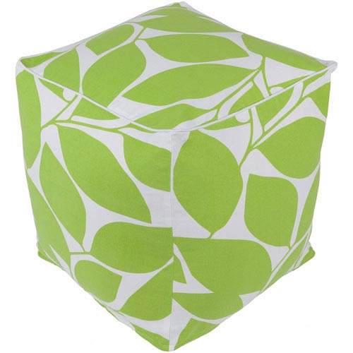 Somerset Lime and White Pouf