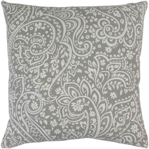 Somerset Gray and Ivory 18-Inch Pillow with Poly Fill