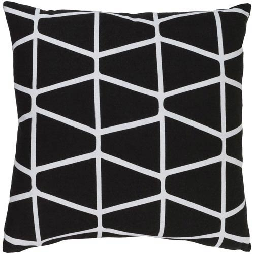 Somerset Black and Ivory 18-Inch Pillow with Poly Fill