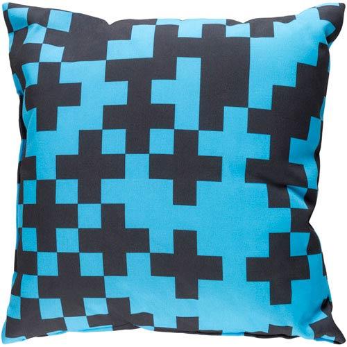 Surya Scandinavian Sky Blue and Black 22 x 22-Inch Pillow