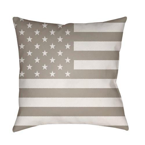 Surya Americana Beige and White 18 x 18-Inch Throw Pillow