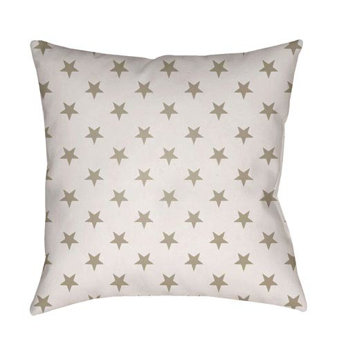 Surya Americana II Beige and White 18 x 18-Inch Throw Pillow
