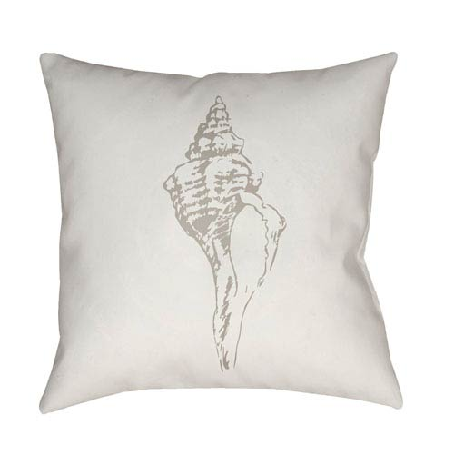 Surya Shells Beige and White 20 x 20-Inch Throw Pillow