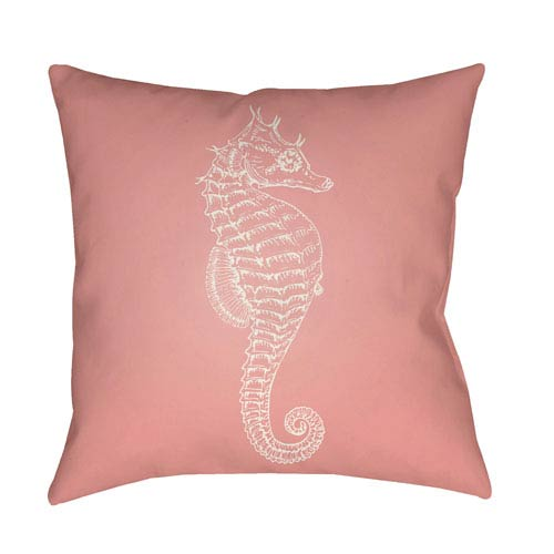 Surya Seahorse Pink and Neutral 18 x 18-Inch Throw Pillow