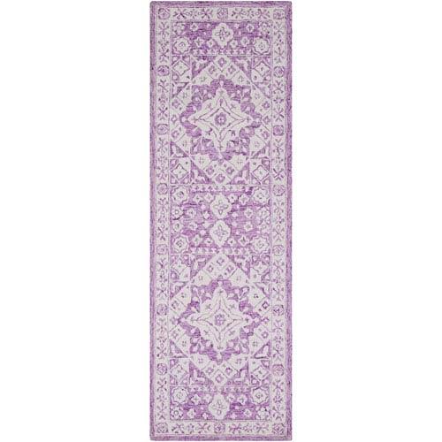 Serafina Bright Purple and White Rectangular: 2 Ft. x 3 Ft Rug