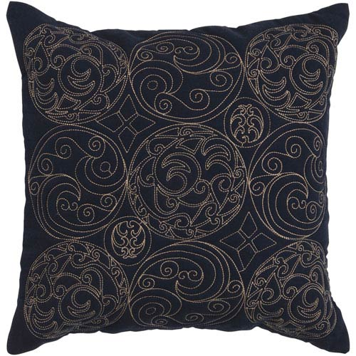 Embroidered Ink 22 x 22 Pillow w/ Down Fill
