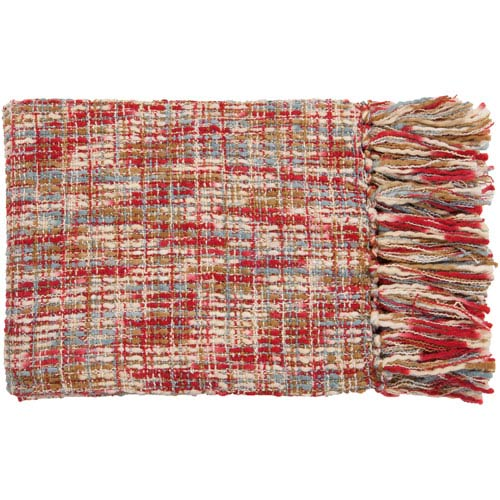 Surya Tabitha Red and Sky Mixed Woven Throw