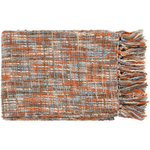 Tabitha Rust and Light Blue Mixed Woven Throw