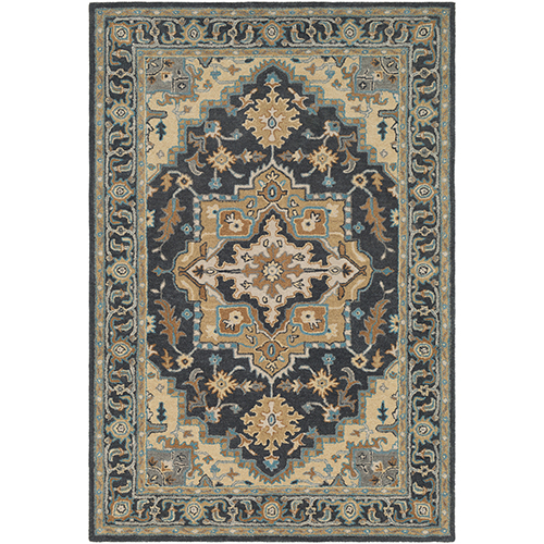 Tabriz Charcoal and Beige Rectangular: 8 Ft. x 10 Ft. Rug