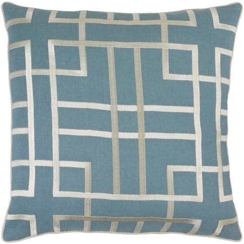 Tate Blue and Neutral 18-Inch Pillow Cover