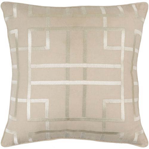 Tate Beige 18-Inch Pillow with Poly Fill