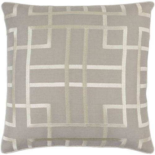 Tate Light Gray and Beige 18-Inch Pillow with Down Fill