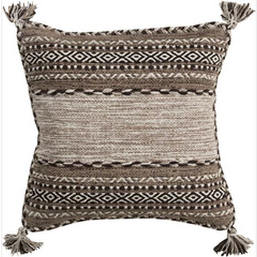 Trenza Taupe 22-Inch Pillow with Poly Fill